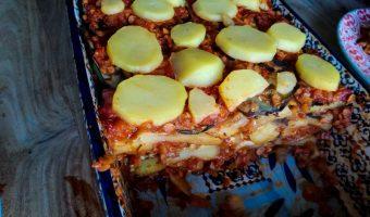 Aubergine ovenschotel met aardappel en tomaat