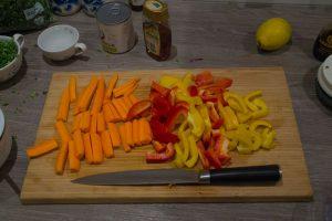 Gesneden wortel en paprika